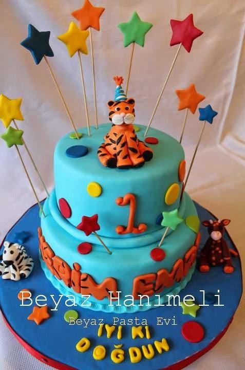 Kaplanlı 1 yaş pastası