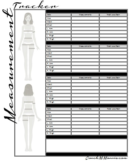 or Printable Body Measurement Tracking Spreadsheet to keep a Printable ...