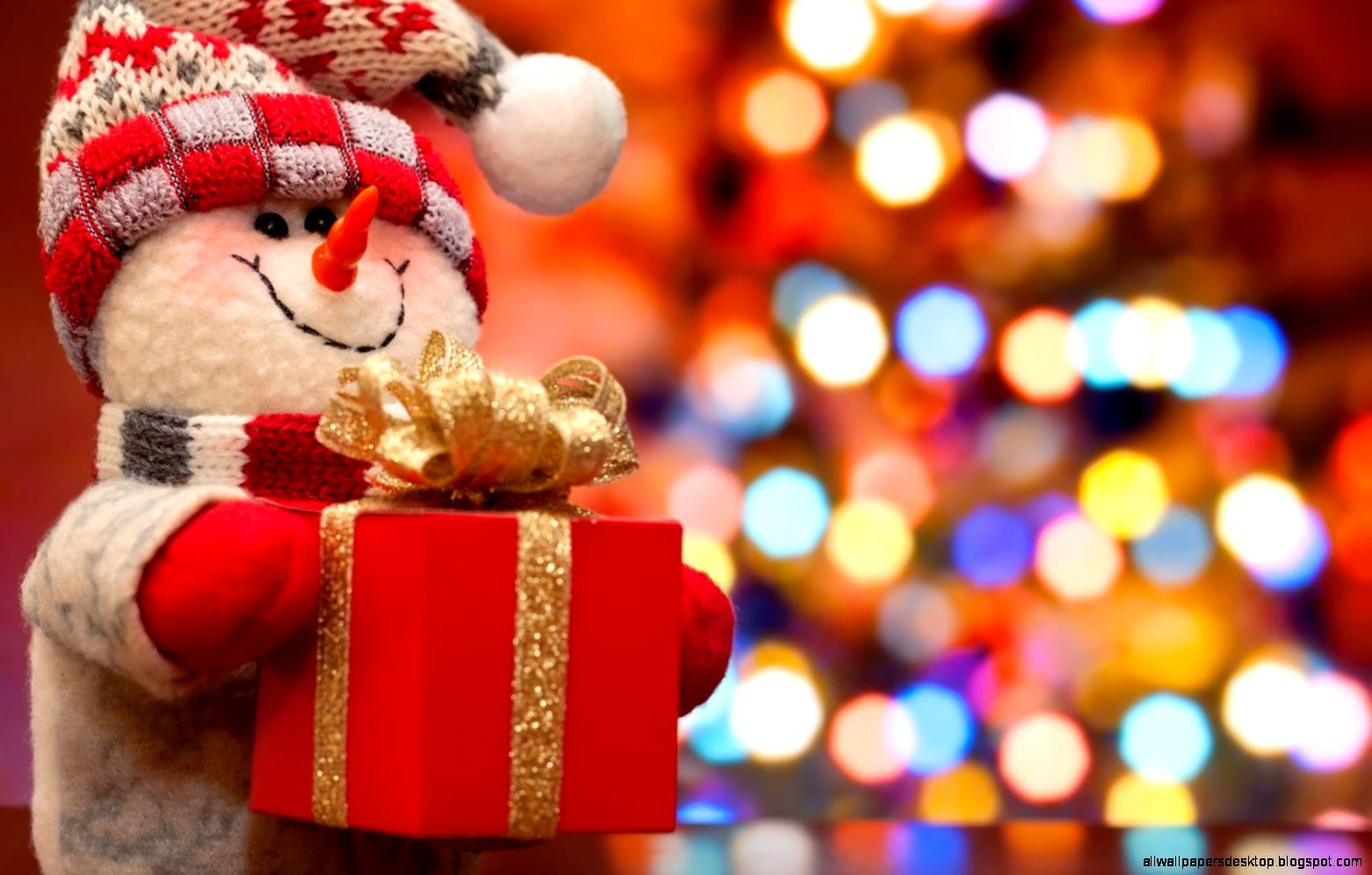 Snowman Christmas Tree New Year Gift   HD wallpapers