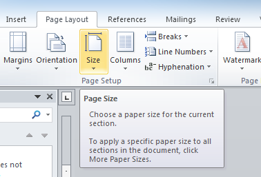 How to set a custom paper size in word