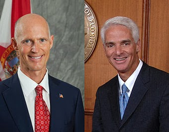 The governor's race in Florida is expected to pit Gov. Rick Scott (left), a climate skeptic who has repealed virtually all of the state's climate policies, against former Gov. Charlie Crist (right), a Republican-turned-Democrat who has pledged to make tackling global warming a top priority if he's elected. Experts say the stakes are high for low-lying Florida, which is highly vulnerable to rising seas and other climate impacts. (Credit: State of Florida) Click to enlarge.