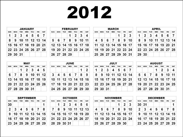 2012 calendar printable. 2012 Printable Calendar