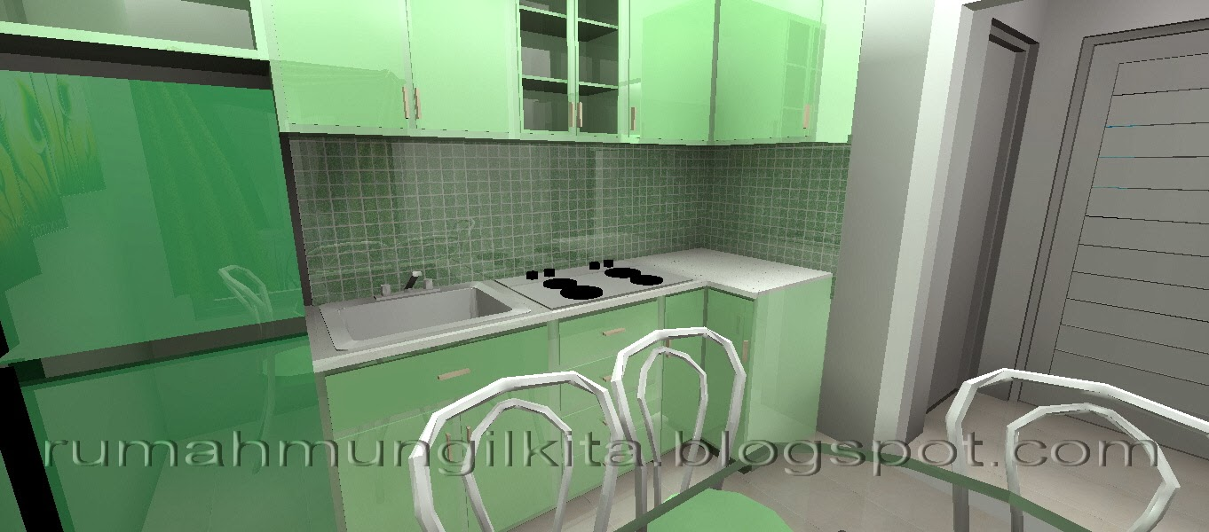 Kumpulan desain dapur berukuran sangat mungil rumah for Kitchen set kompor tanam