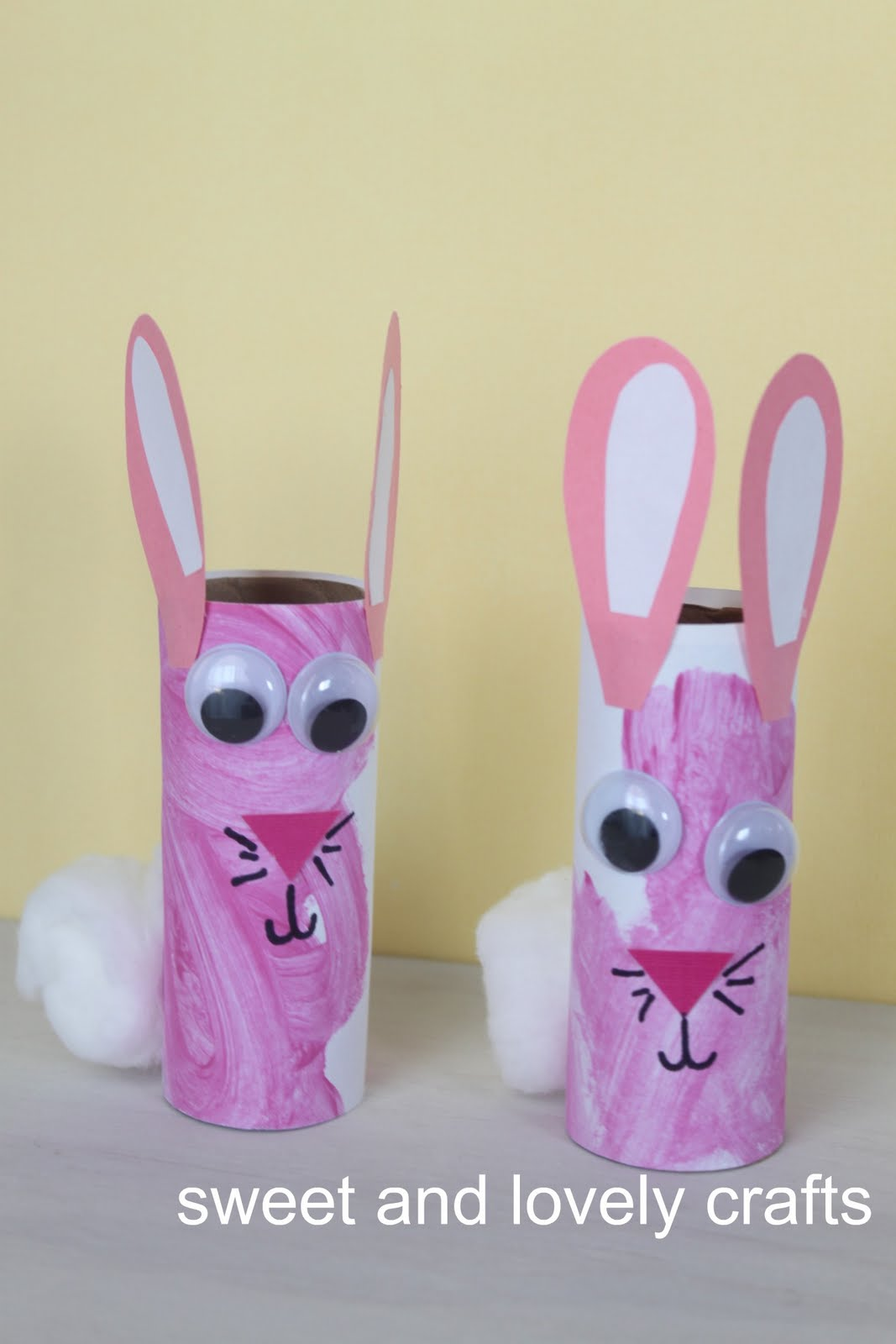 sweet and lovely crafts: toilet paper roll bunnies