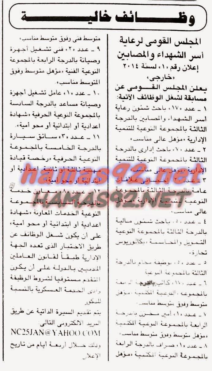 وظائف المجلس القومى لرعاية اسر الشهداء 10/11/2020