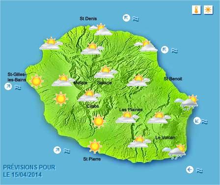 Prévisions météo Réunion pour le Mardi 15/04/14