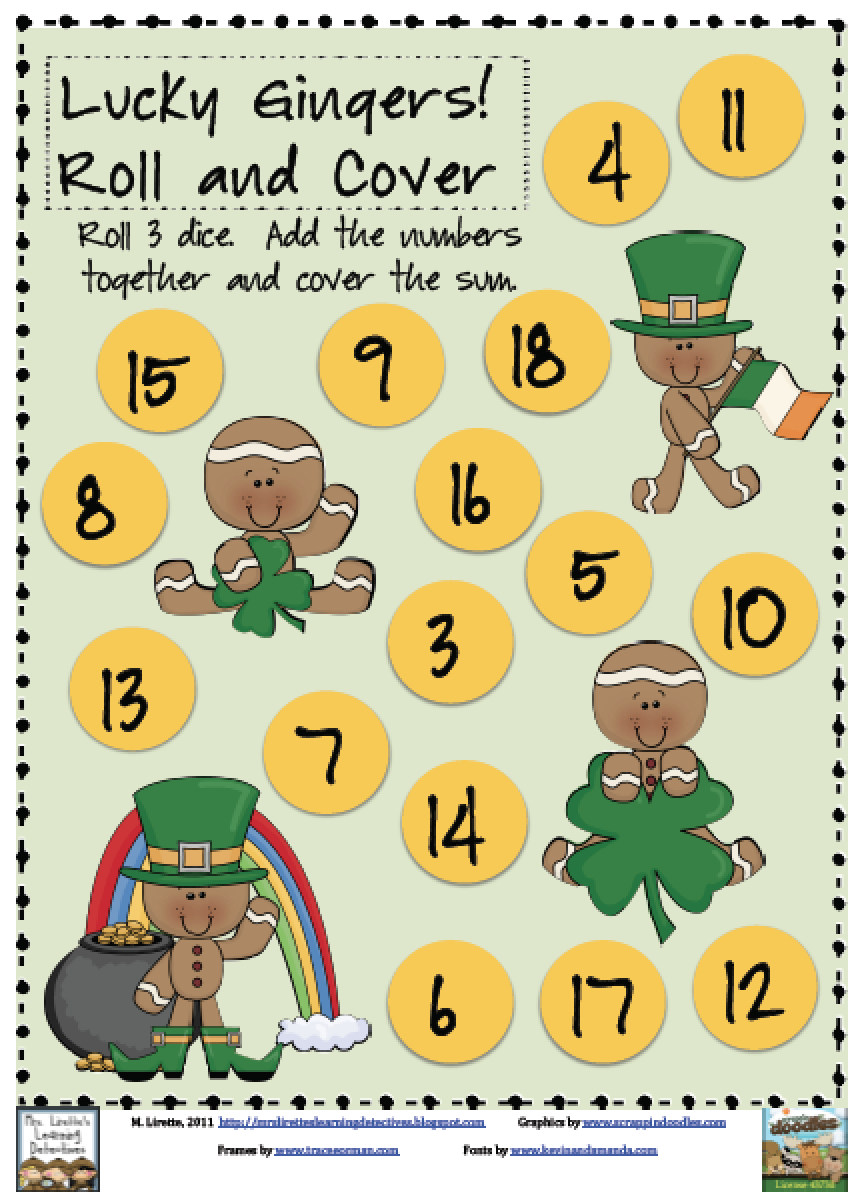 https://www.teacherspayteachers.com/Product/Lucky-Gingers-Adding-3-Numbers-Roll-and-Cover-Free-214425