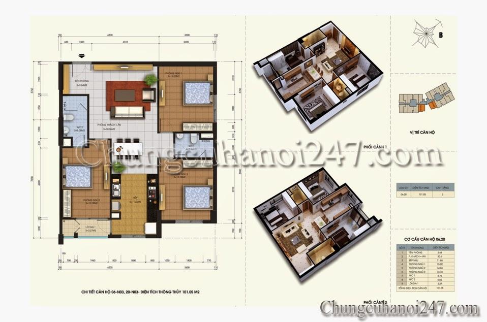 mặt bằng thiết kế căn hộ 101m2 tòa n03 chung cư 87 lĩnh nam