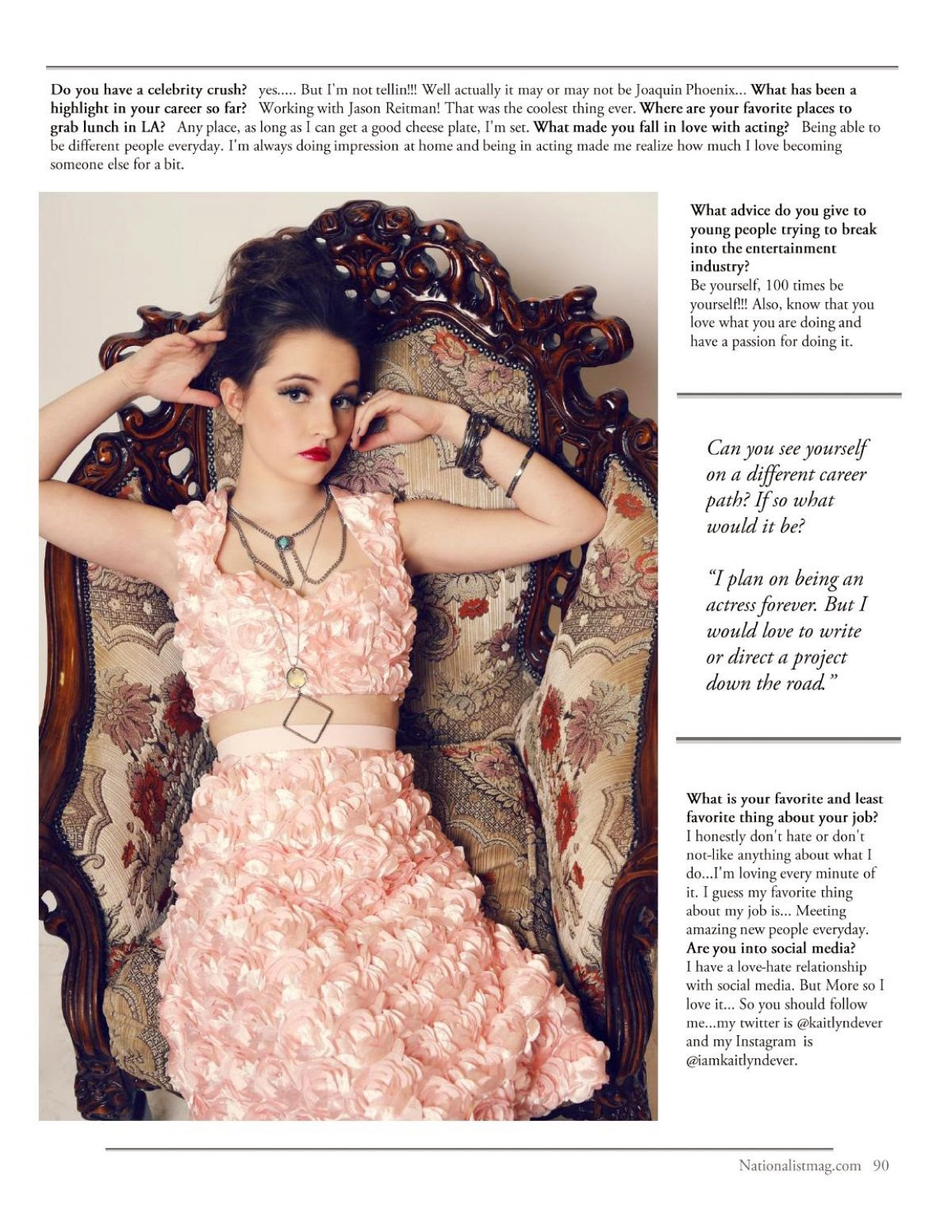 KAITLYN DEVER in Nationalist Magazine, April 2014 Issue
