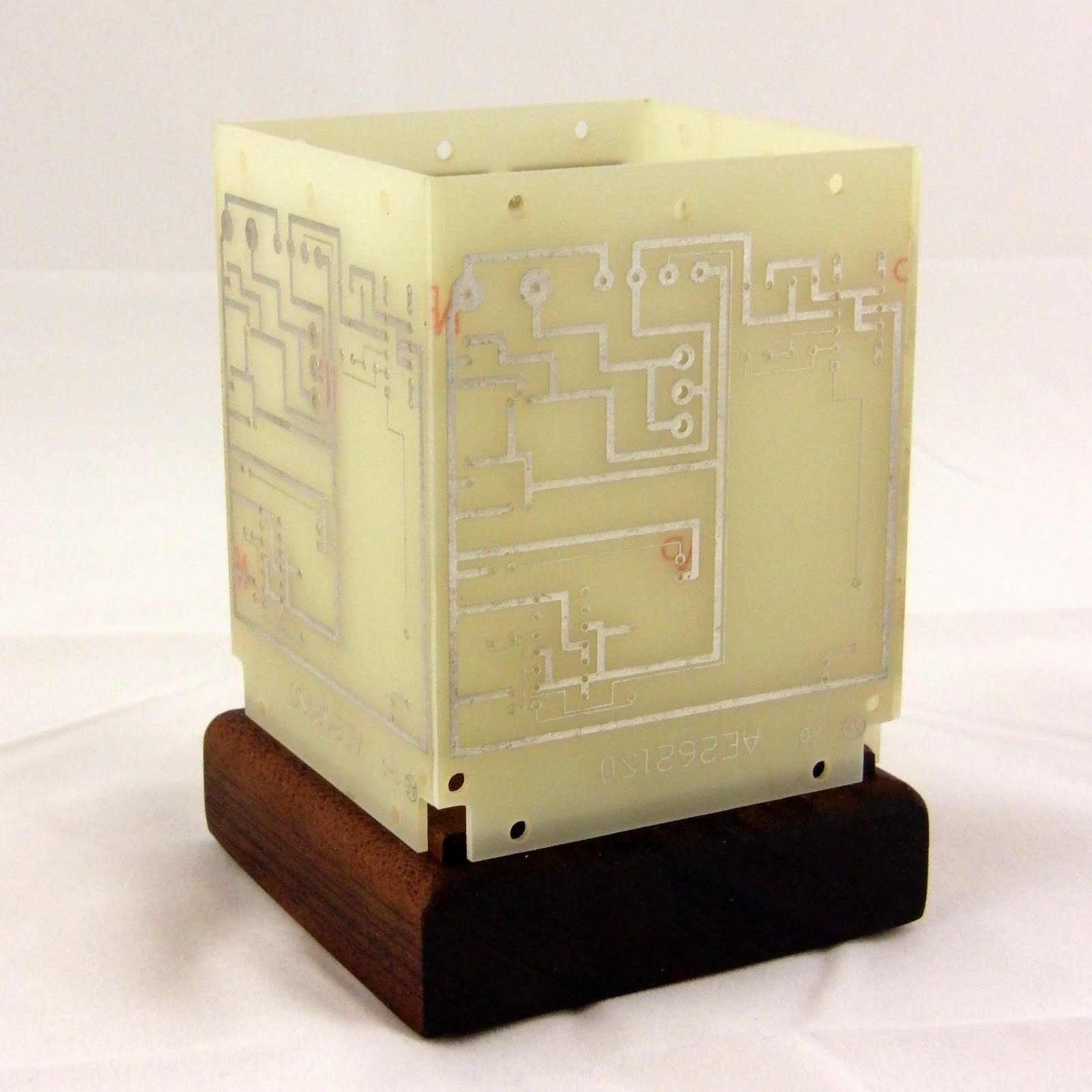 Chris Holmes Constructions Circuit Board On Vintage Cigar Box Candle Holder