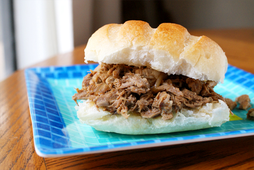 North Carolina Style Pulled Pork Sandwiches made in the crock pot.