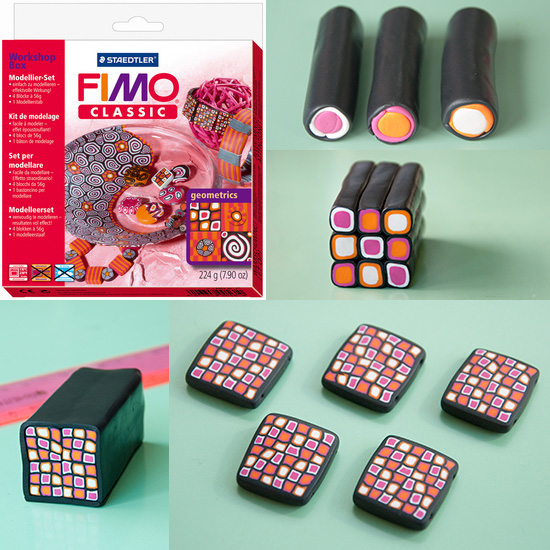 Checkered beads and a Fimo set.