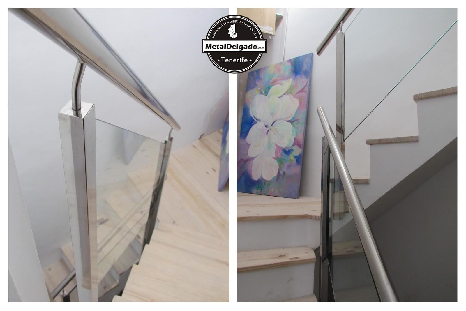 barandilla de escalera en acero inoxidable y cristal