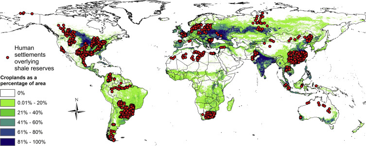 Human settlements and croplands overlaying assessed shale reservoirs