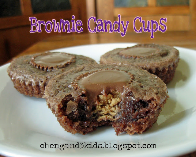 Brownie Candy Cups - brownies with Reese's peanut butter cups in the center.