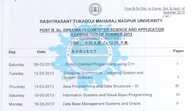B.Sc. Diploma in Computer Science timetable summer 2013 Nagpur university
