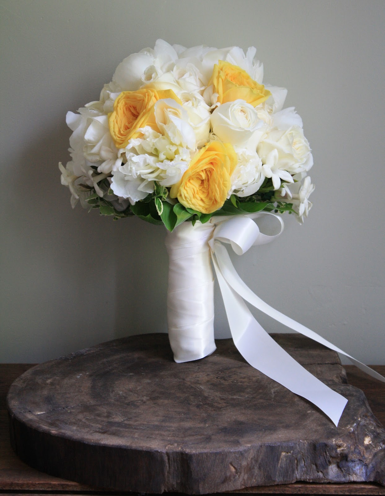 Yellow Garden Rose and Peony Wedding Bouquet - fluffy white peonies, yellow garden roses, and stephanotis