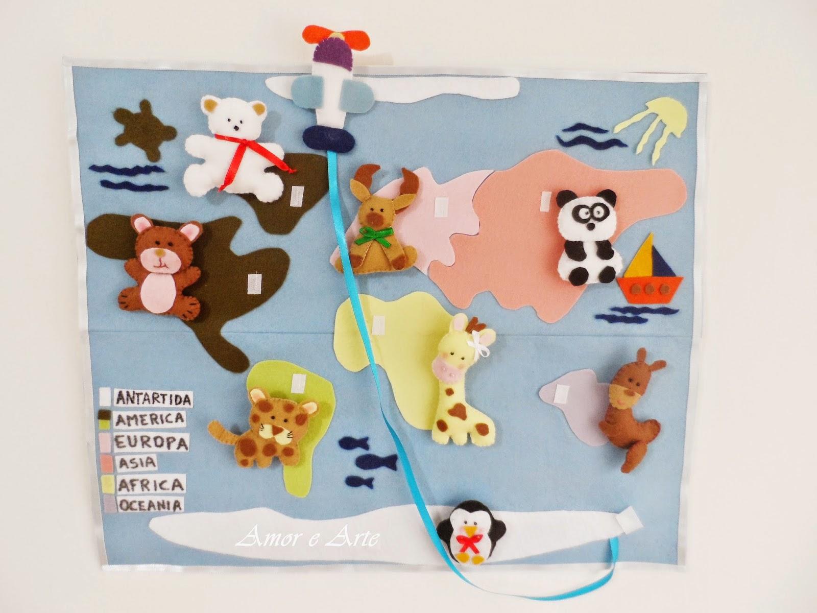 Mapa Mundi, em feltro