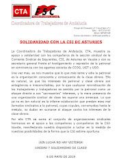 SOLIDARIDAD CON LA CSI DE ASTURIES