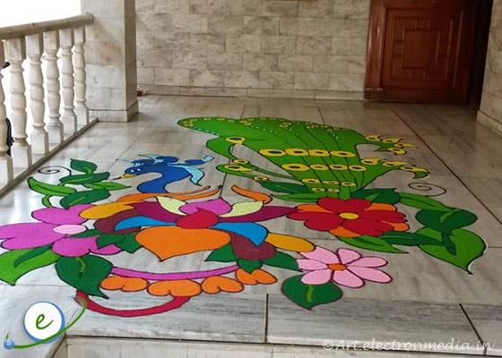 Peacock Diwali Rangoli