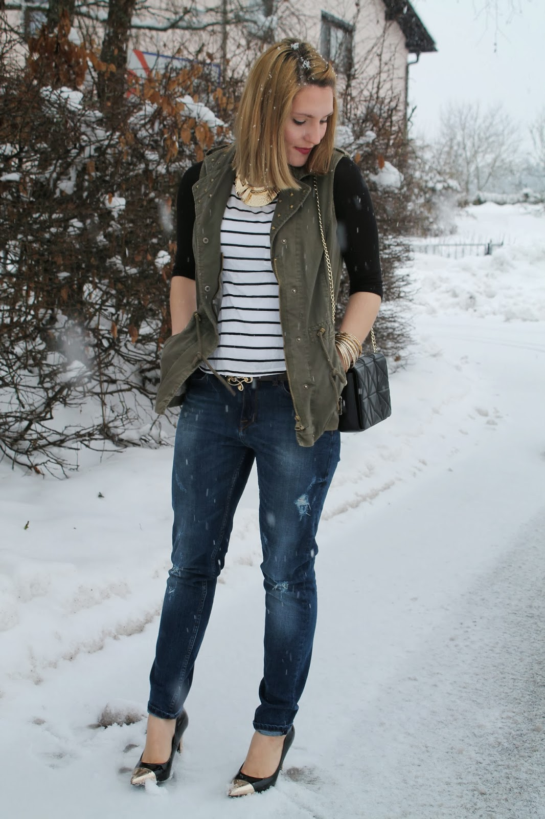Fashionblogger Austria Österreich Kärnten Carinthia Klagenfurt Winter Style Winter Look Winter Fashion Fashion Even and Odd Takko Zara H&M Stripes Boyfriend Jeand Ann Christine