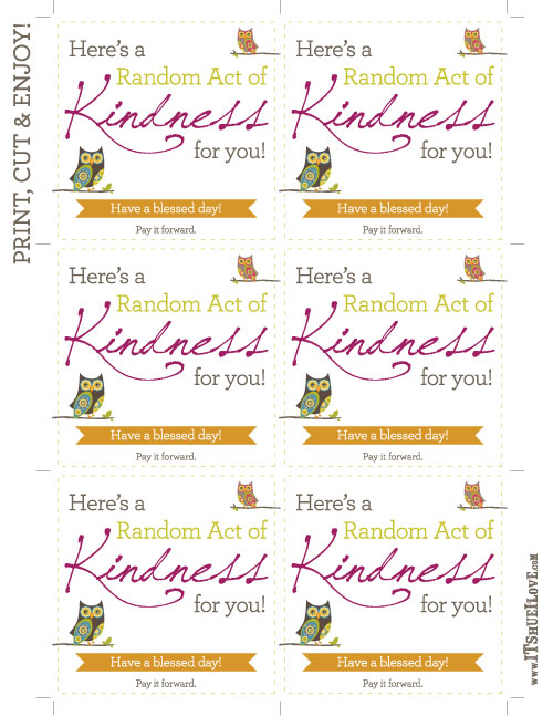 Acts Of Kindness Printables, Birthday, Printable Cards, 32 ...