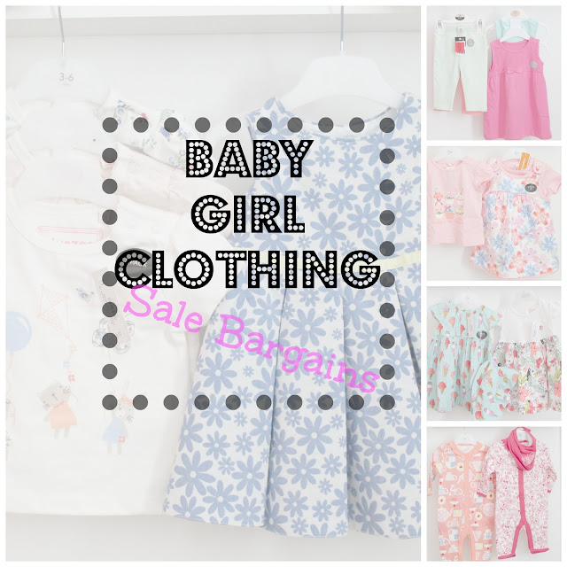 faded collage of baby girl clothing with baby girl clothing sale bargains written over