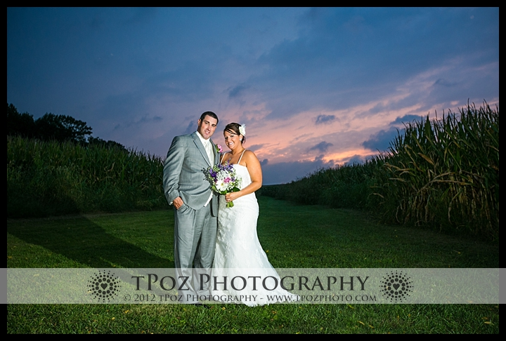 Duke Farm Wedding Sunset Cornfield Photos