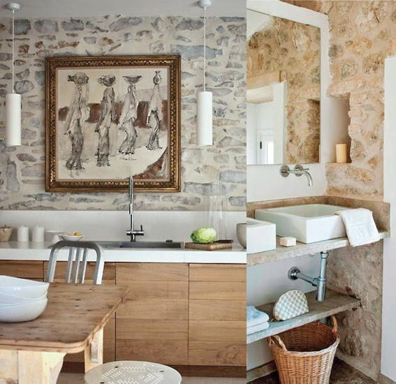 Interior Stone Wall Kitchen: Carolin Cavalli Home