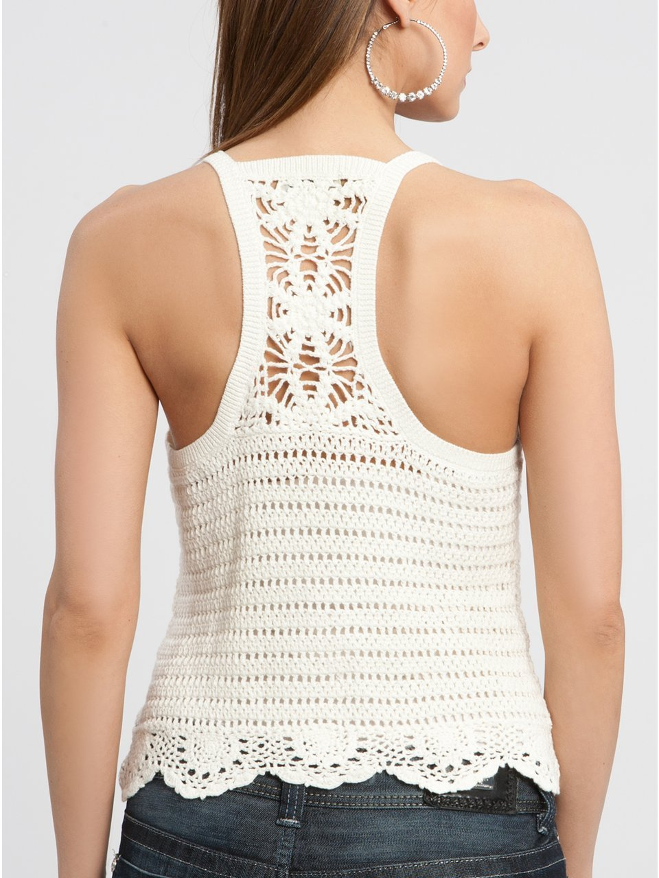 Crocheting On Top Of Crochet : Crochetemoda Blog: Top Branco de Crochet
