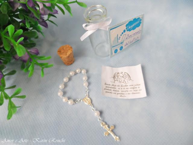 Lembrancinha Garrafinha (mini terço + oração)