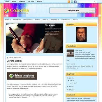 Colorite blogger template. template blogspot magazine style. download template full color blogger template