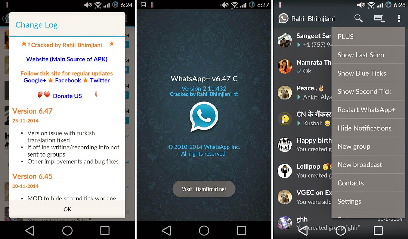 Whatsapp+ Plus v6.47C Cracked Patched Modded (Hide Last Seen Blue Double Tick Download No Root Apk)