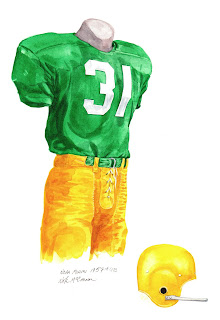 1957 Miami Hurricanes football uniform original art for sale