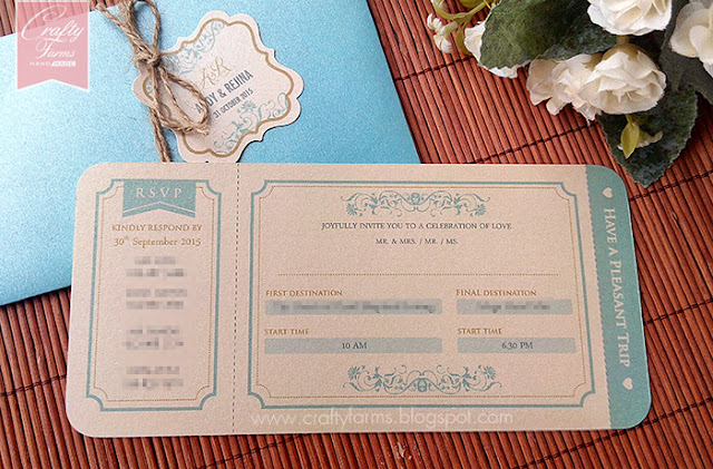 Glamour Turquoise and Cream Wedding Card, Rustic, Sabah, Malaysia and Kuala Lumpur