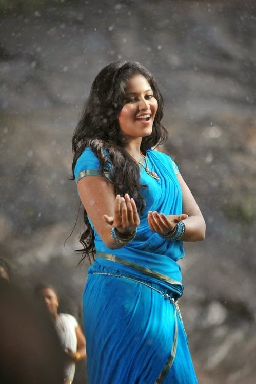 Tamil Actress Anjali Hot Sexy Stills In Blue Saree Actress Anjali Hot Photos