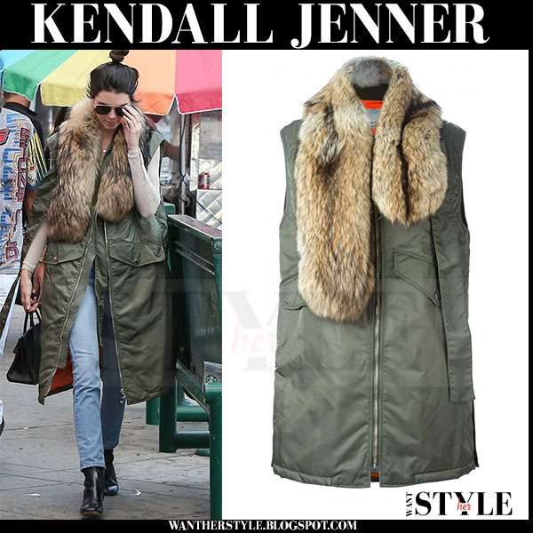 Kendall Jenner in green sleeveless coat with fur stole phillip lim what she wore winter streetstyle
