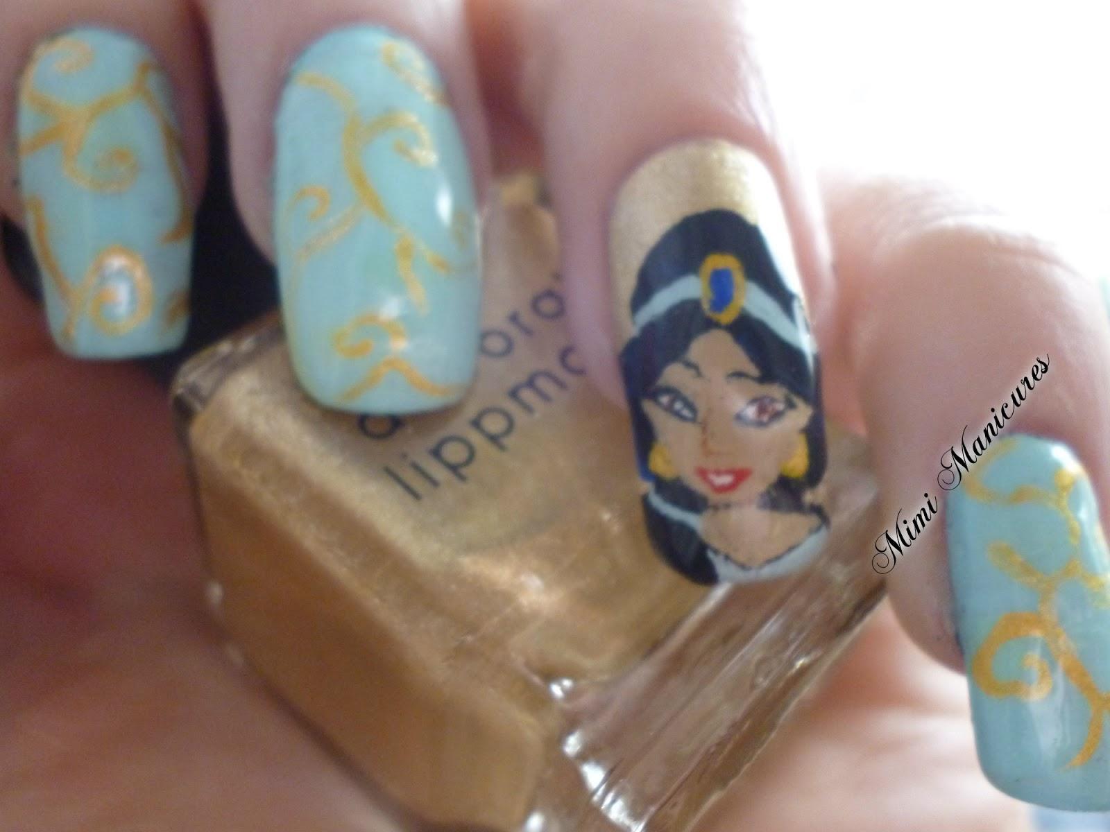 my adventures in nail polish: YAY DISNEY Princesses! Jasmine nail art!