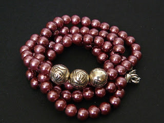 biżuteria z półfabrykatów - lawendowe perły (perły)