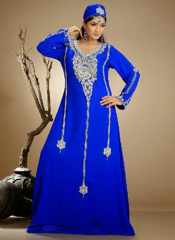 dress, gaun pengantin muslimah modern warna biru, dress pengantin