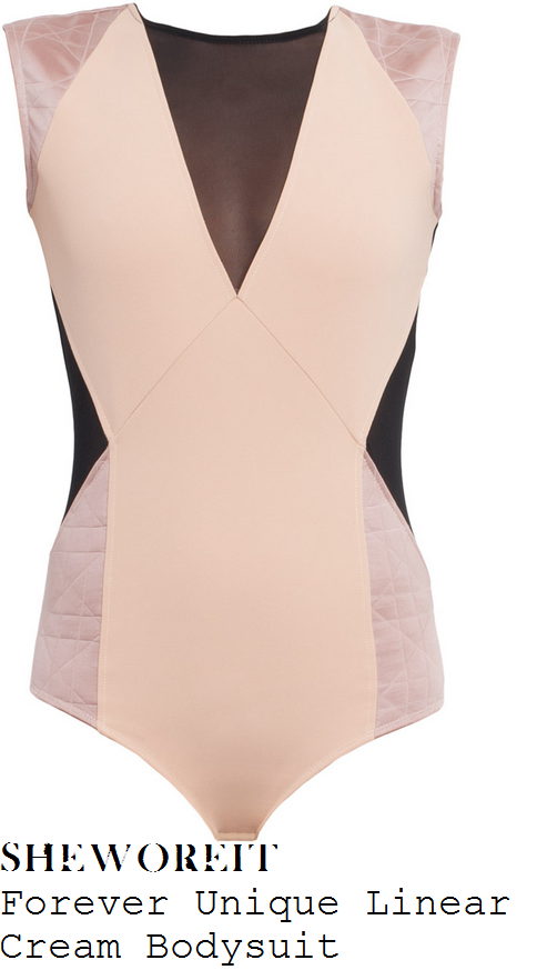 perrie-edwards-cream-peach-nude-and-black-sheer-mesh-panel-sleeveless-bodysuit