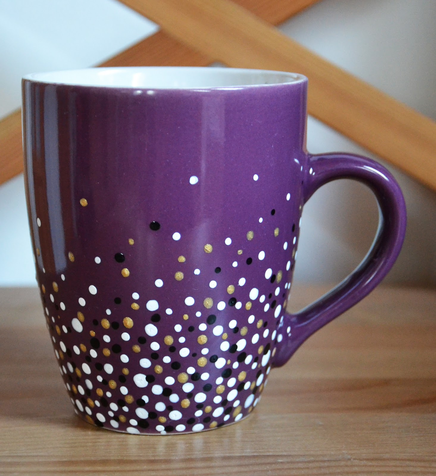 purple dotty mug the cheekiest monkey of all. Black Bedroom Furniture Sets. Home Design Ideas