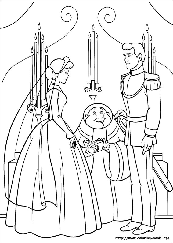 Cinderella and prince dancing coloring pages for Cinderella coloring pages online