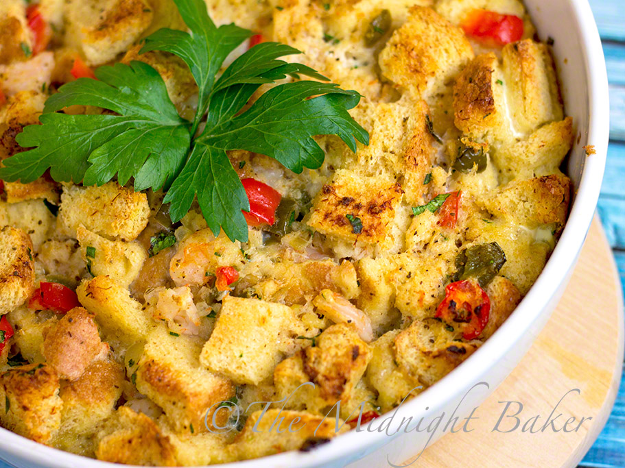 Maryland Seafood Bake #SeafoodCasseroles #MarylandCrabCakes #SavoryBreadPudding