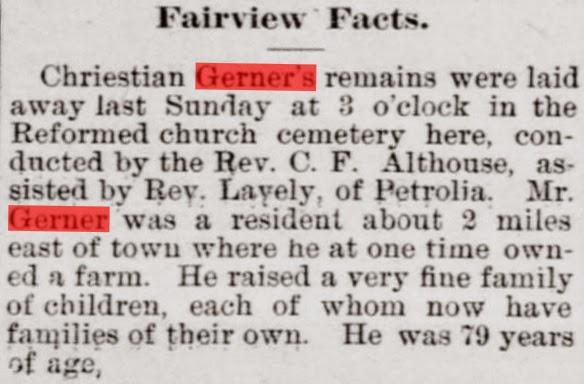 February 1899 Obituary of Christian Gerner from Butler Citizen