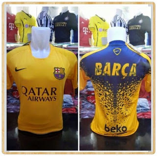 gambar photo jersey Barcelona prematch warna kuning terbaru musim 2015/2016