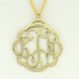 filigree goldtone monogram initial pendant necklace