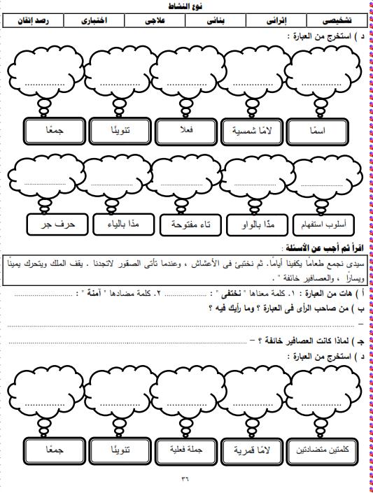 شيتات المجموعة المدرسية لمادة اللغة العربية للصف الثالث الابتدائى على هيئة صور للمشاهدة والتحميل The%2Bthird%2Bunit%2B3%2Bprime_003