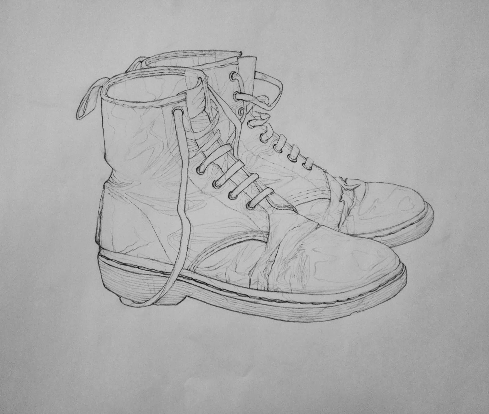 Contour Line Drawing Of Shoes : Foundations drawing spring homework shoe contour