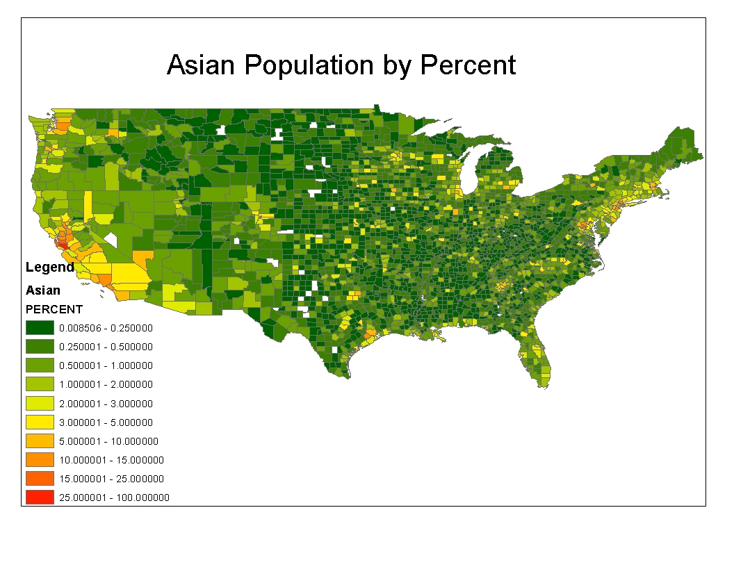 this map shows the population by percent of the asian population each county is shaded based on the percentage of asians compared to the total county